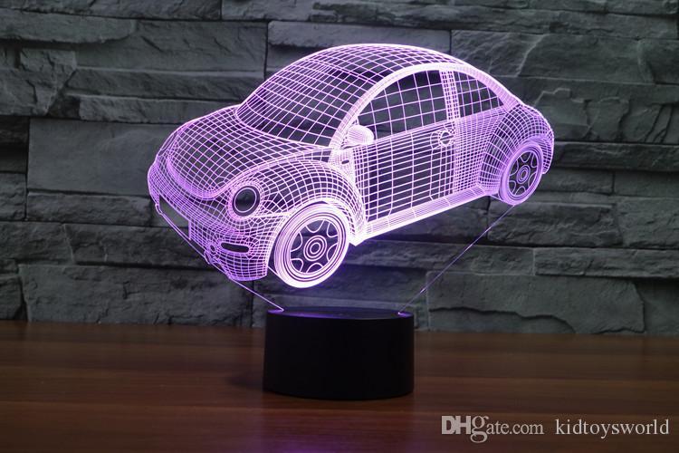 3D Lamp Night Light Beetle Car Led Night Lights for Kids USB Battary Table Desk Lamp Baby Children Gift Bedroom Sleeping Nightlight