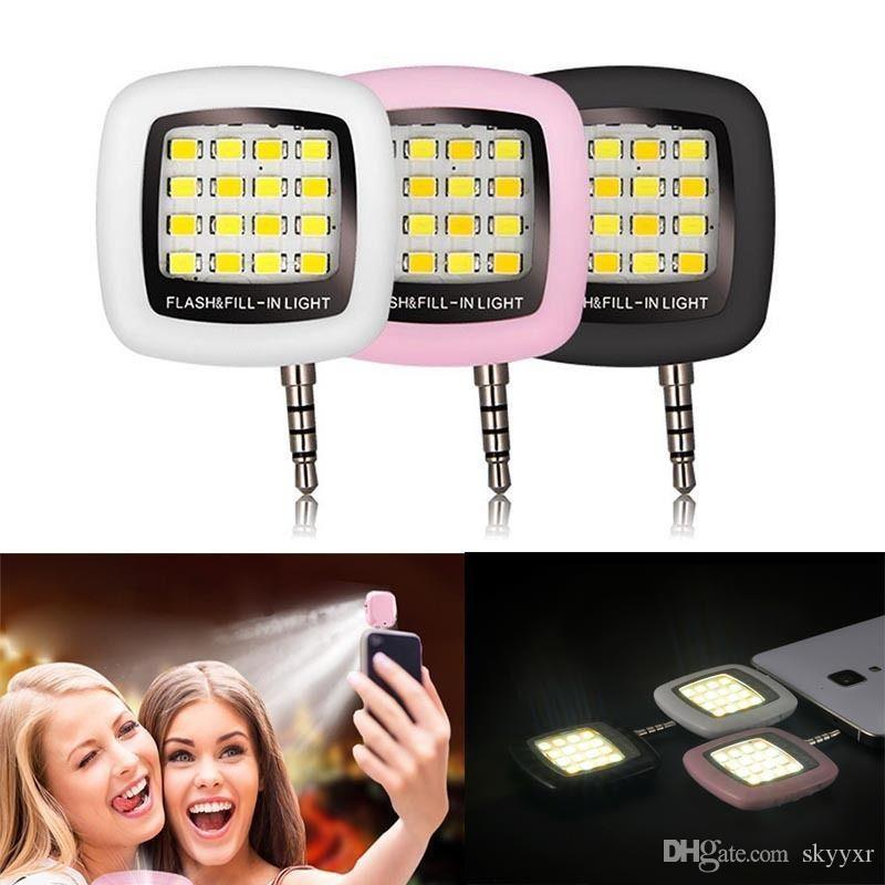 Phone Flash Portable Phone Selfie Mini 16 Led Flash Fill Light For Smartphone Cell Phone Adapter Accessories Mobile Phone Adapters