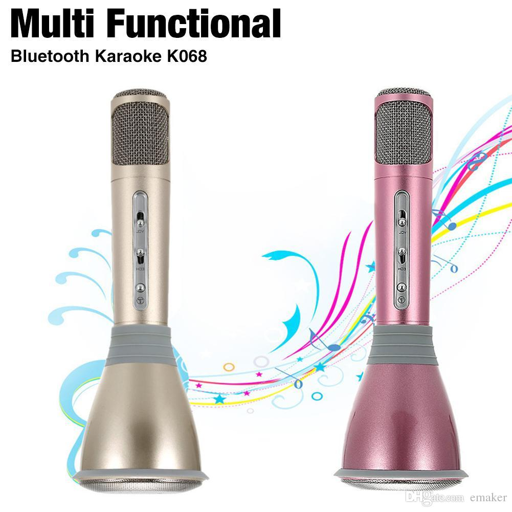 Portable Speakers Online Sale K068 Karaoke Player Wireless Bluetooth Mic Microphone Hifi Speaker Sing A Song Music Condenser With Ktv Singing Record For Phones 6 6s 7 7plus