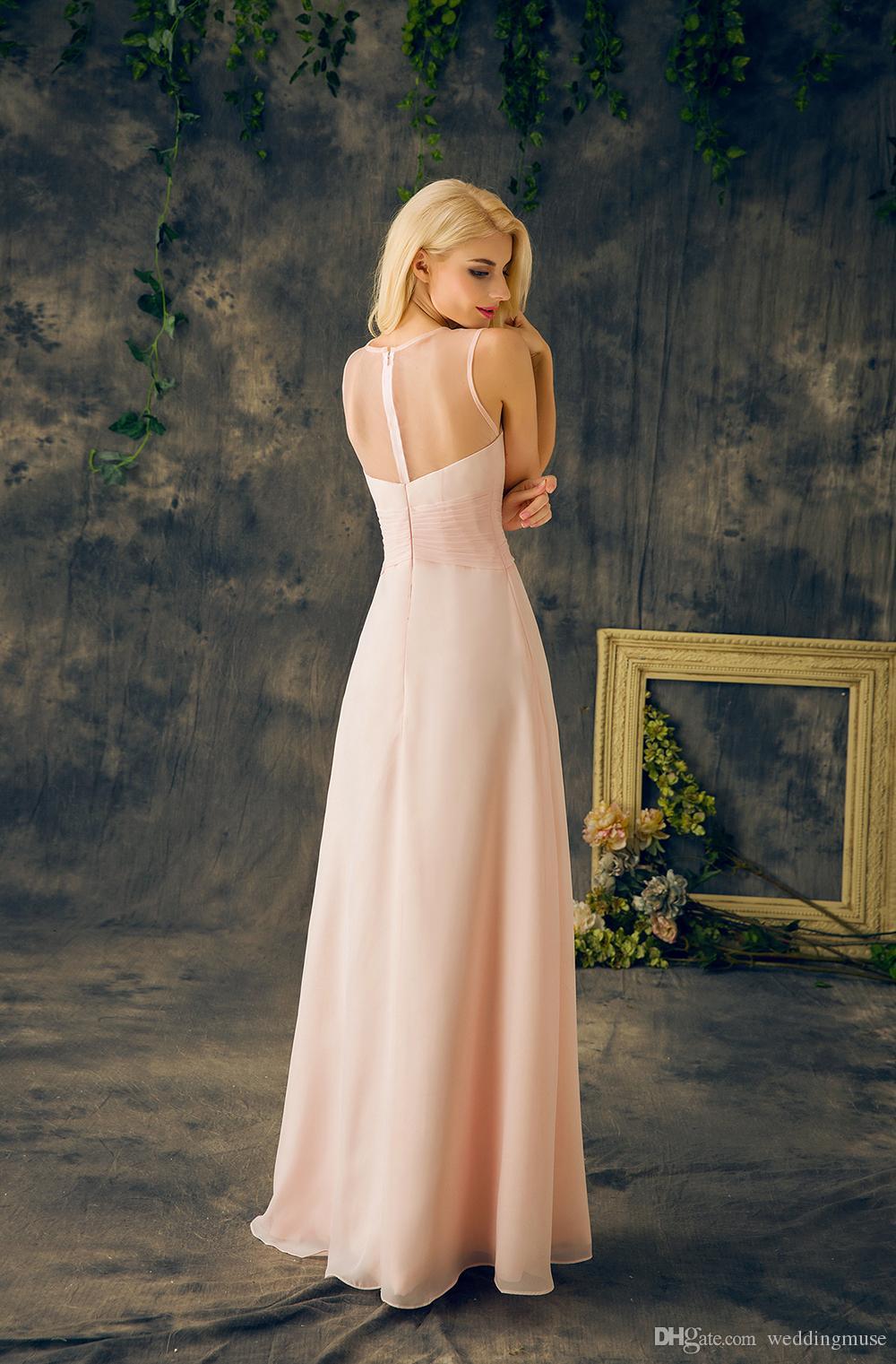 2021 Baby rose demoiselles d'honneur de demoiselles d'honneur rose véritable col rond sans manches une ligne longue mousseline de mousseline de soie junior robe d'honneur pour mariage