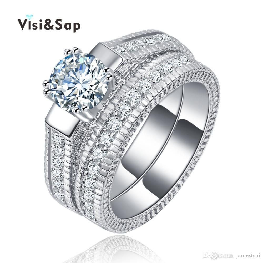 Visisap Rings For Couple Cubic Zirconia Bridal Sets Wedding For Women Vintage Jewelry Fashion White Gold Color Vsr121