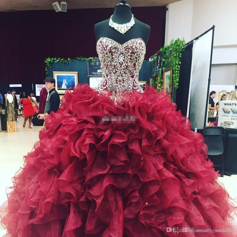 6fa41f3f3c3 Crystal Beaded Sweetheart Bodice Corset Organza Ruffles Ball Gowns  Quinceanera Dresses 2017 Burgundy Vestidos De 15 Anos Sweet 16 Prom Gowns  Dama Dresses ...