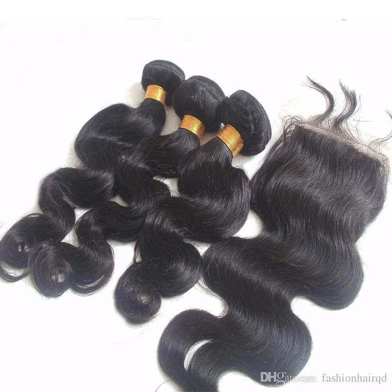 Brazilian Body Wave Human Hair Bundles With Silk Base Closure 8A Grade Unprocessed Virgin Hair Weaves Double Weft Extensions Natural Color