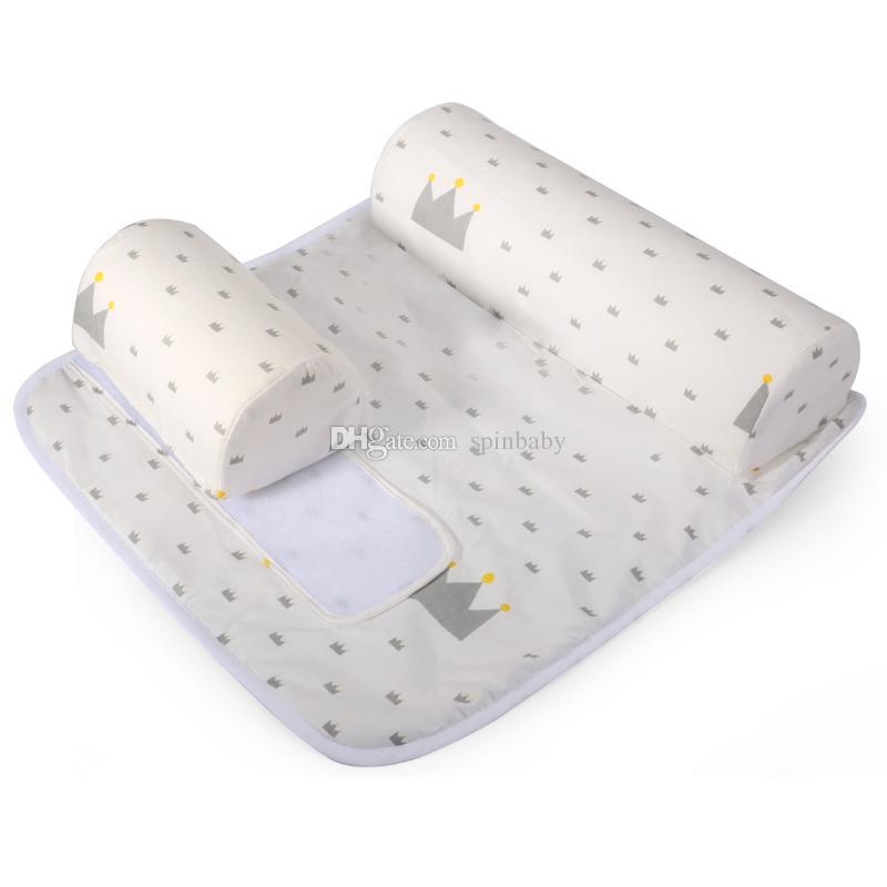 새로운 아기 유아 신생아 수면 포지셔너 시트 커버가있는 안티 롤 베개 신생아 수면 포지셔너 그녀와 함께 안티 롤 베개