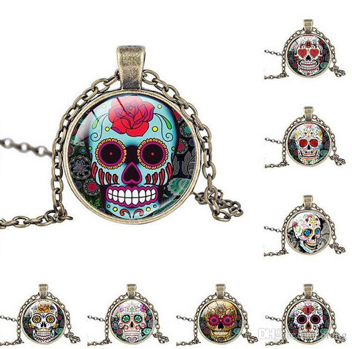 fashion jewelry Person cranial head Time gem pendant ritual altar pendant necklace occult medallion for friend EXL316