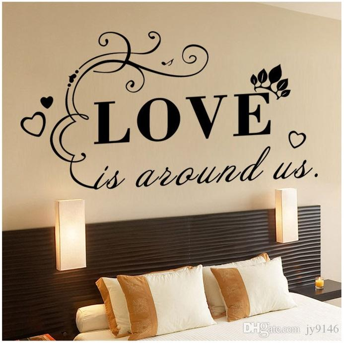Love Is Around Us Quote Wall Sticker Vinyl Self Adhesive Wall Art Decal For  Living Room And Bedroom Decoration Tree Wall Art Stickers Tree Wall Clings  From ...