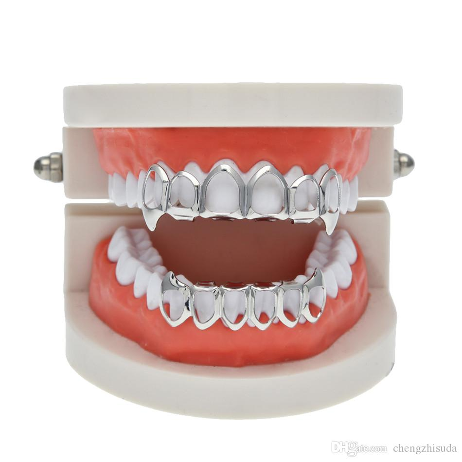 Hip Hop Custom Fit Grill Six Hollow Open Face Gold Mouth Grillz Caps Top & Bottom With silicone Vampire teeth Set
