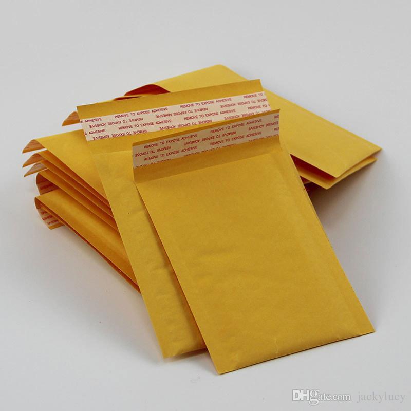 Vente chaude 200mm x 250mm + 40mm PE Bubble rembourré Kraft Paper Papier Envelope Sac Jaune Transport Emballage Livraison Gratuite