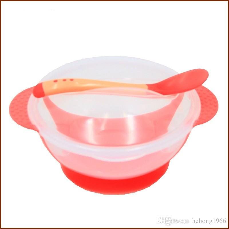 Baby Feeding Training Bowls For Enfant Tableware Heat Resisting Children Sucker Bowl With Spoon Non Slip 2 95xd C R