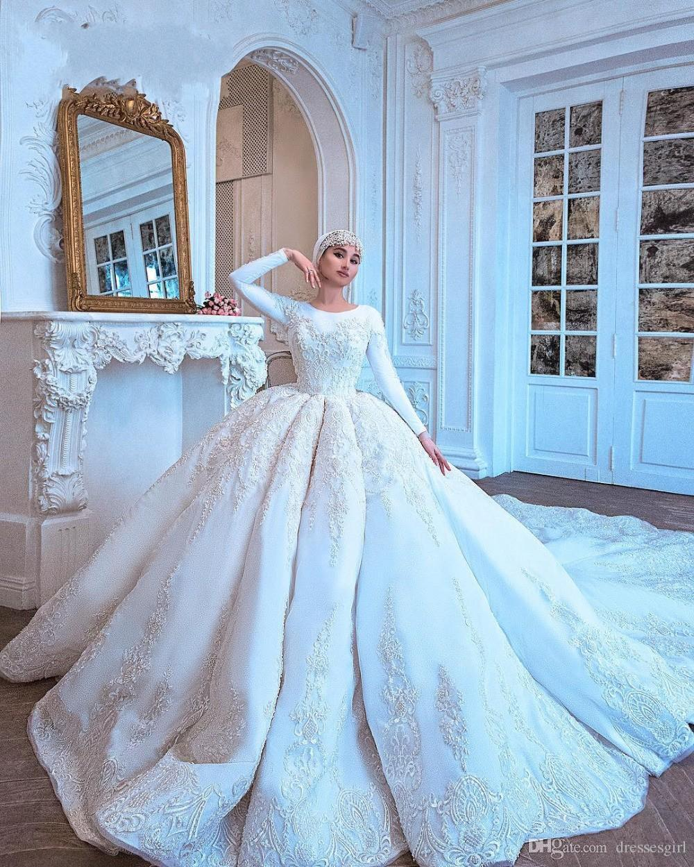 Discount Luxurious Amazing Long Train Muslim Wedding Dresses Sleeve Lace White Bridal Gowns Dubai Saudi Arabia Castle O Neck Vestido De Noiva Design