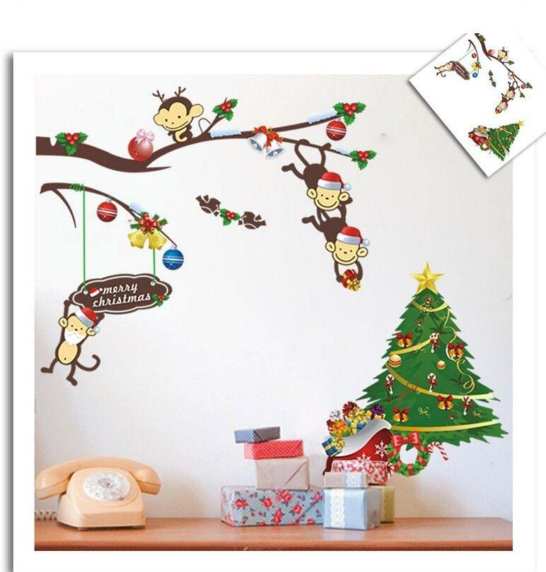 Großhandel Heißer Affe Weihnachtsbaum Schaufenster Wandaufkleber ...