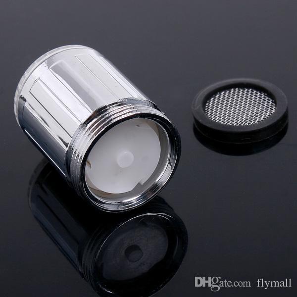 es cambian la luz de la cabeza de ducha del agua del LED RGB controlan la temperatura resplandecen el grifo del LED con el adaptador para la mayoría del golpecito del cuarto de baño de la cocina del grifo