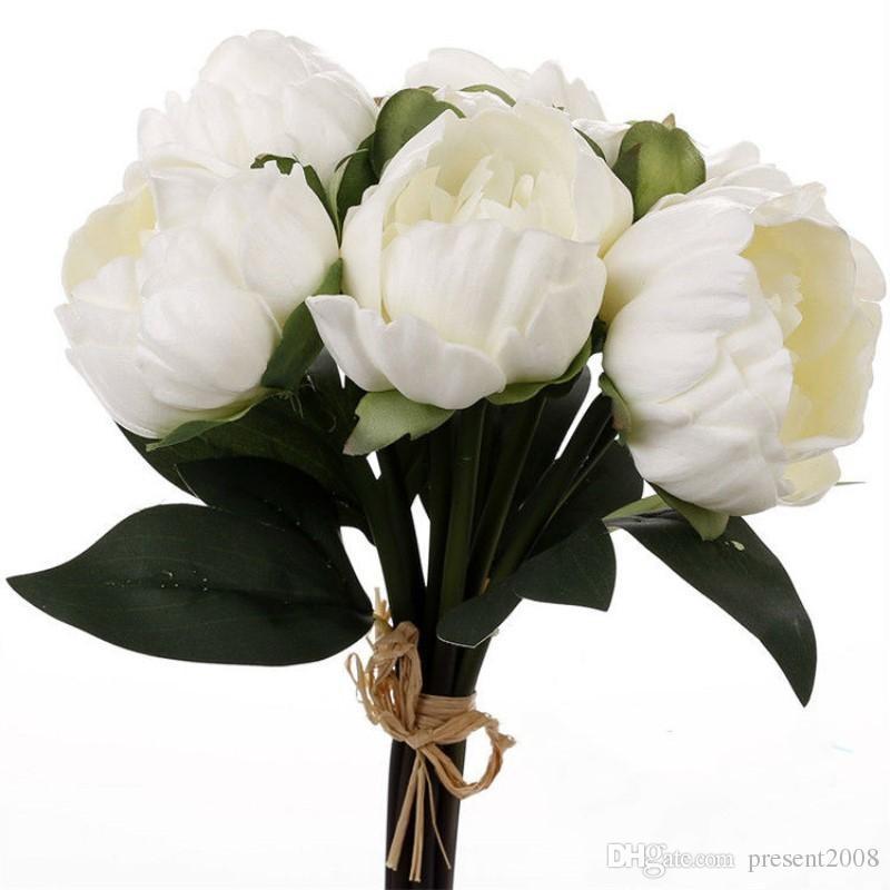 Gerçek / doğal Dokunmatik PU şakayık tomurcukları buket düğün gelin Holding çiçek gelin el tutun çiçekler ev dekoratif süs