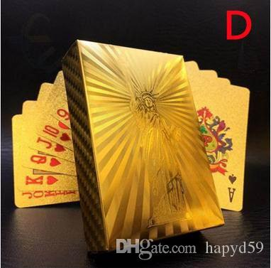 Euro US dollars Style Waterproof Plastic Playing Cards Gold Foil Poker Golden Poker Cards 24K Gold-Foil Plated Playing Cards Poker Table Gam