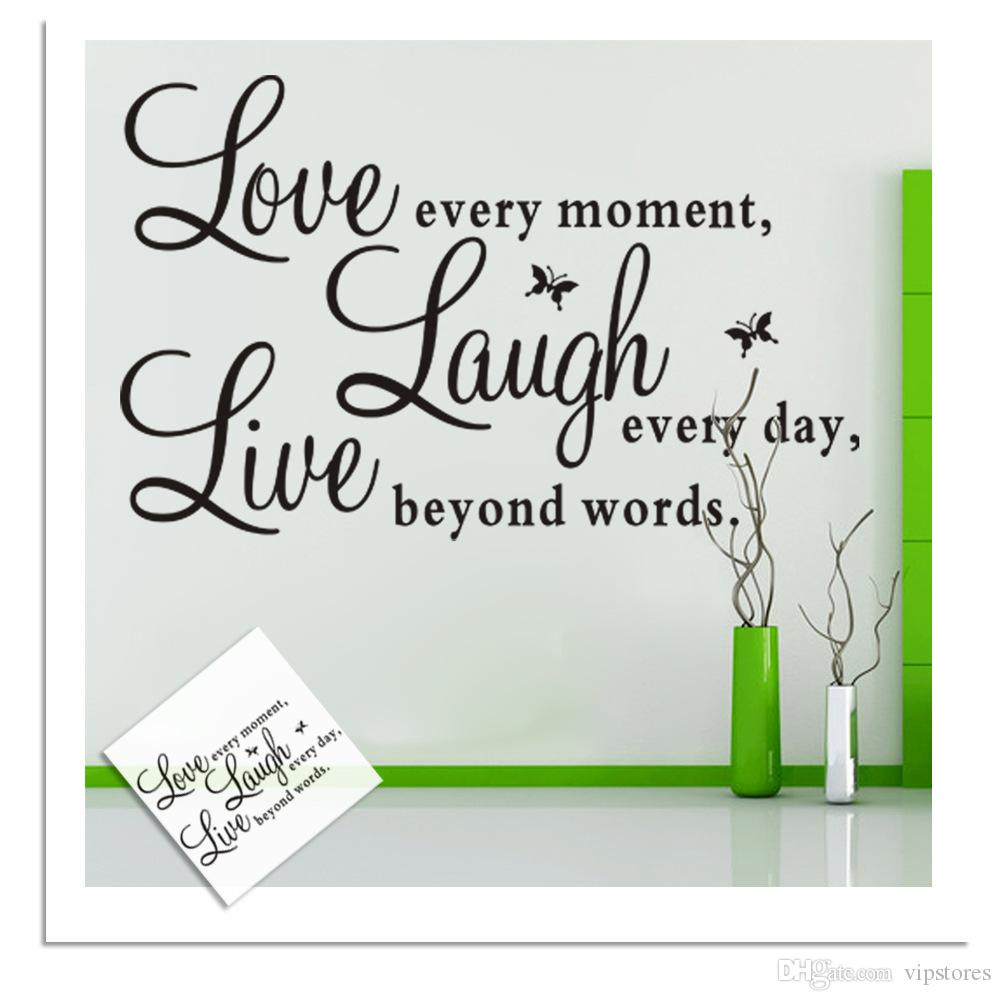 Removable Diy Live Laugh Love Vinyl Wall Art Sticker Inspirational Words Wallpaper Live Love Laugh Wall Decals Stickers Home Decor Murals Wall Art Quotes