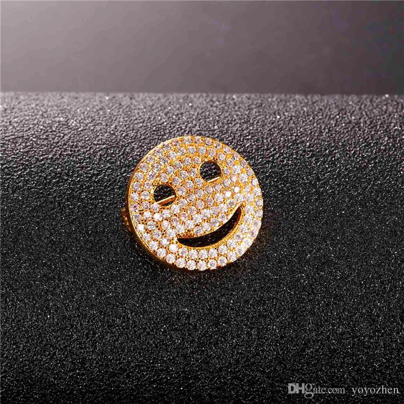 Zirkonia Lächelndes Gesicht Broschen für Frauen Männer Platin Überzogene 18 Karat Reales Gold Überzog Nette Glückliche Breastpin