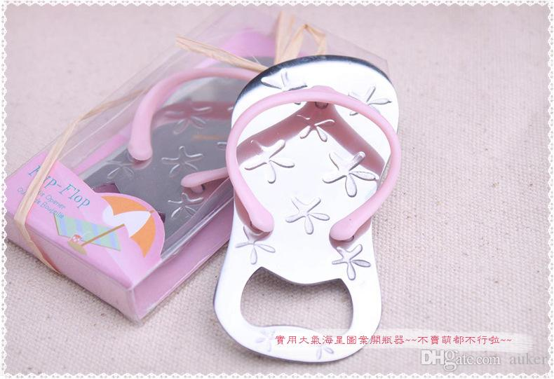 Wedding favors gifts slipper bottle opener with starfish design flip flop opener wedding decoration+DHL