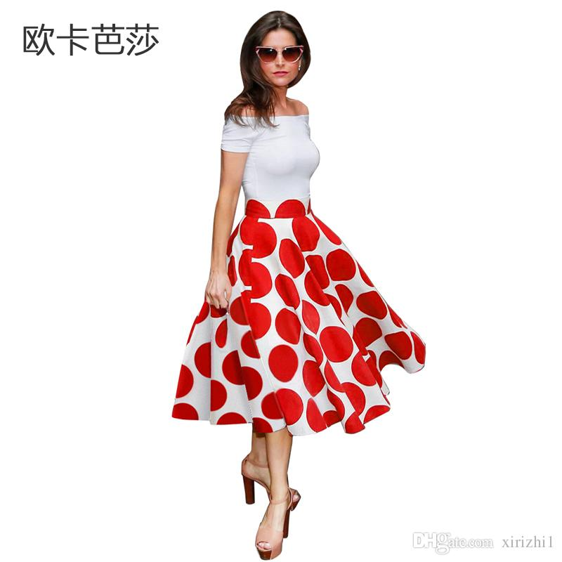 bc46557eb0 2017 Summer Printing A Line Dress Polka Dot With Slash Neck Sexy White And  Red One Piece Dress Off Shoulder Cocktail Dresses Long Buy Party Dresses  From ...