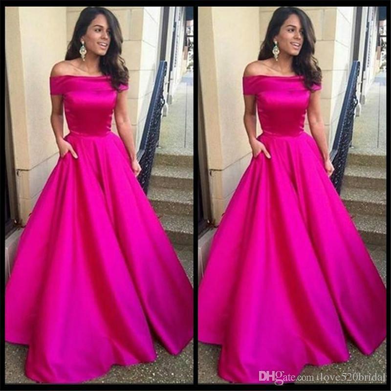 Hot Pink Evening Party Dresses Long 2017 Vestidos Largos Para Bodas ...
