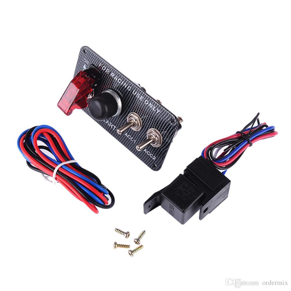 3061 Yarış Tarzı Araba 12 V Kontak Anahtarı Motor Başlat Push Button 3 Gösterge Işığı ile Geçiş Paneli DIY Araba Modifikasyonu Aksesuar