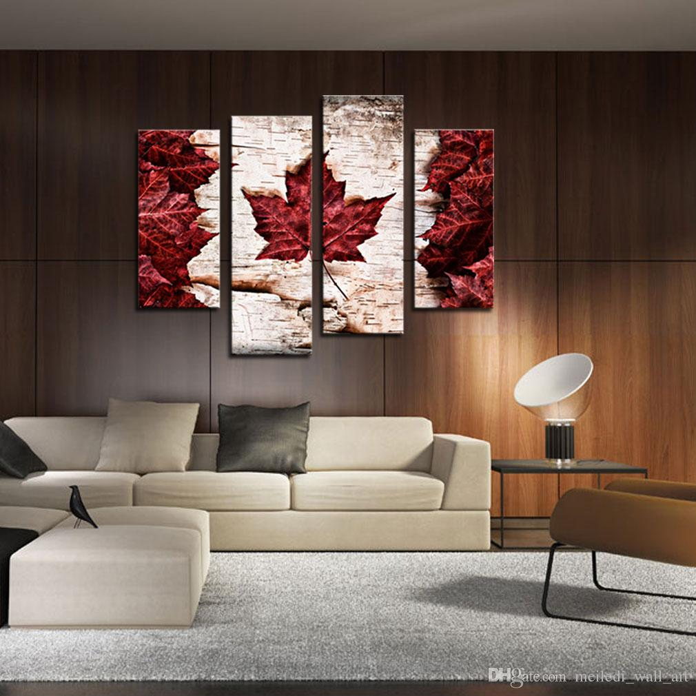 4 Pieces Maple Leaves Flag Of Canada Painting Canvas Art Print On Canvas Picture For Home Decor With Wooden Framed Ready To Hang
