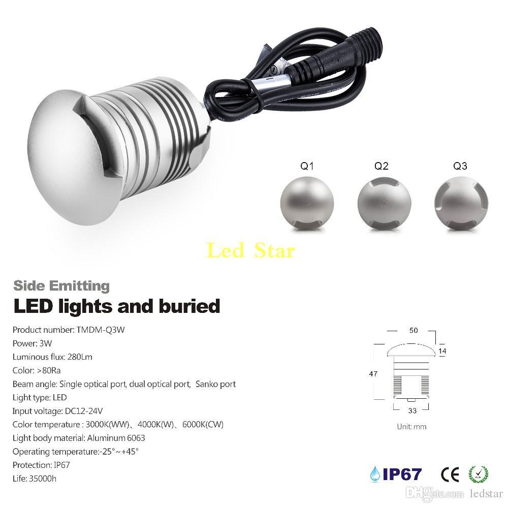 Alçak Gerilim LED Güverte Işık 12 V 24 V IP67 3 W Su Geçirmez Yeraltı Gömülü Lamba laminat parke Açık Bahçe Zemin Işıkları LED
