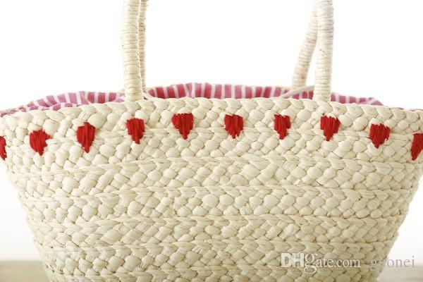 핫 새로운 한국 자수 여성의 손 가방 대형 짚으로 어깨 가방 패션 플라밍고 비치 가방 빅 토트 가방을 짠