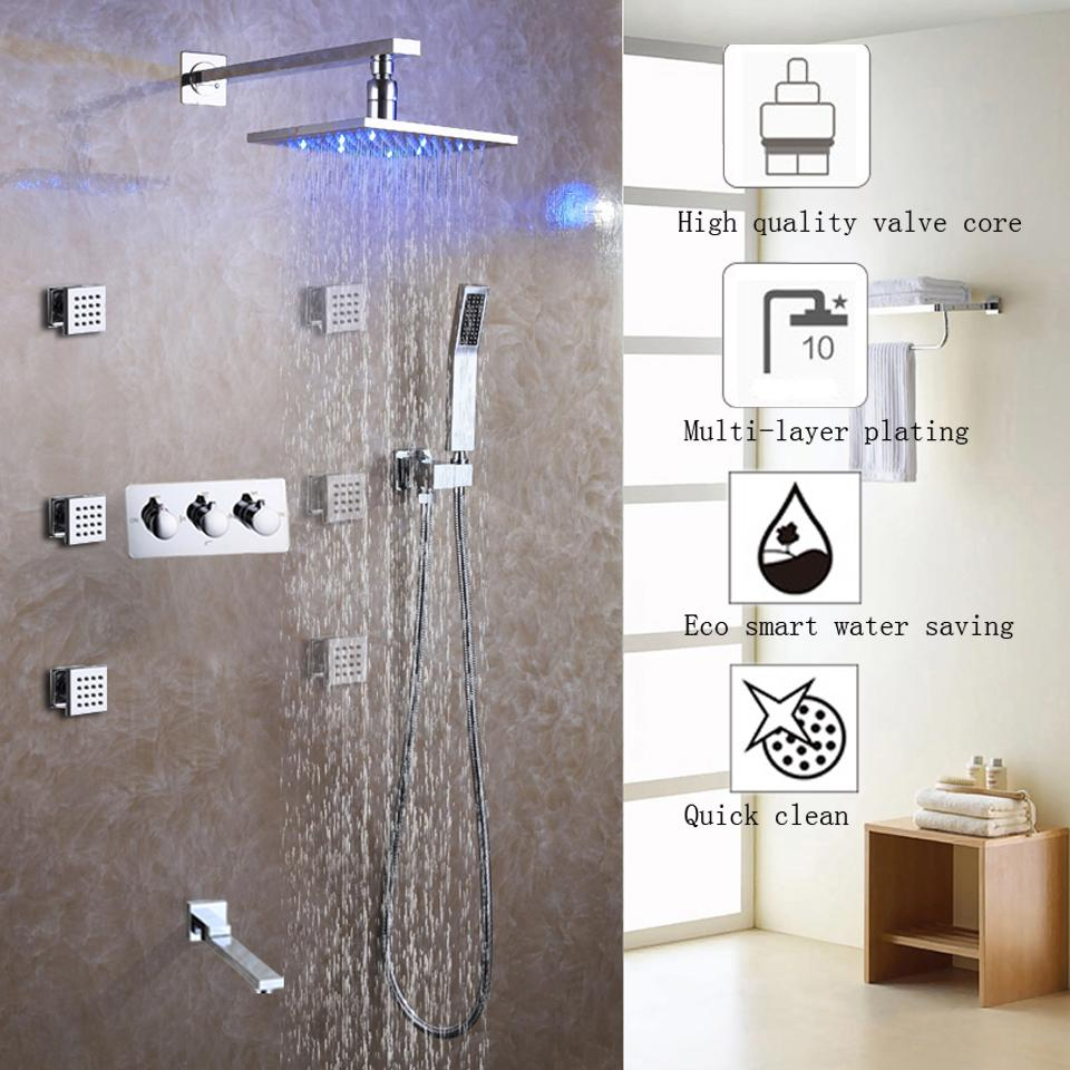 Bathroom Shower Faucet Set Brass Chrome Rainfall LED Shower Head ...