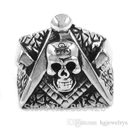 ! Freemason Masonic Ring Stainless Steel Jewelry Gothic Skull Motor Biker Ring Men Ring SWR0260