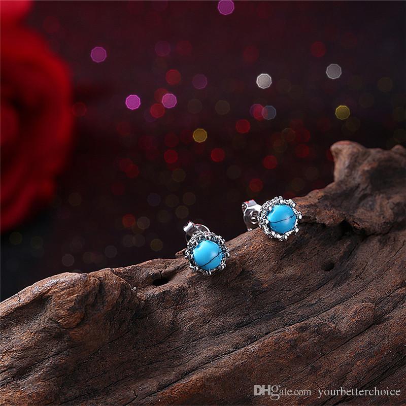 Orecchini in turchese di pietra Kallaite blu placcato in ottone platino donna di alta qualità regalo dalla Cina Spedizione gratuita