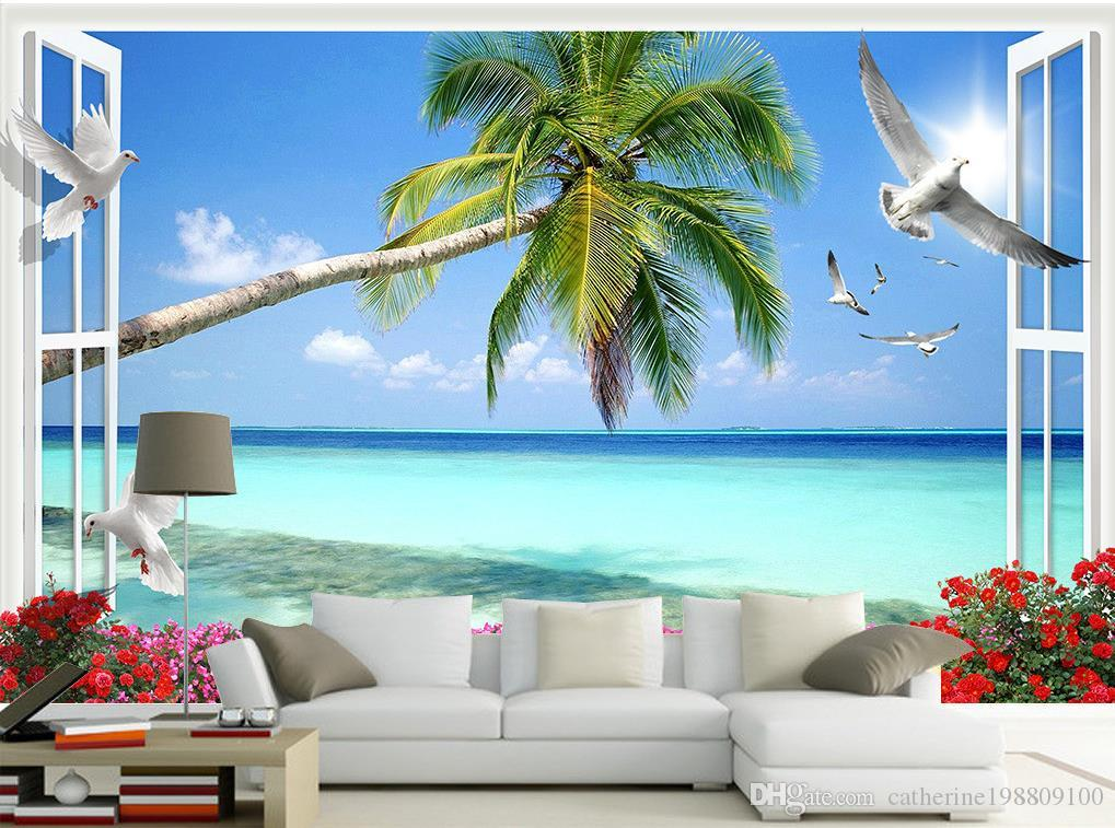 Outside The Window Landscape Beach Coconut 3D TV Wall Mural 3d Wallpaper 3d  Wall Papers For Tv Backdrop Part 90
