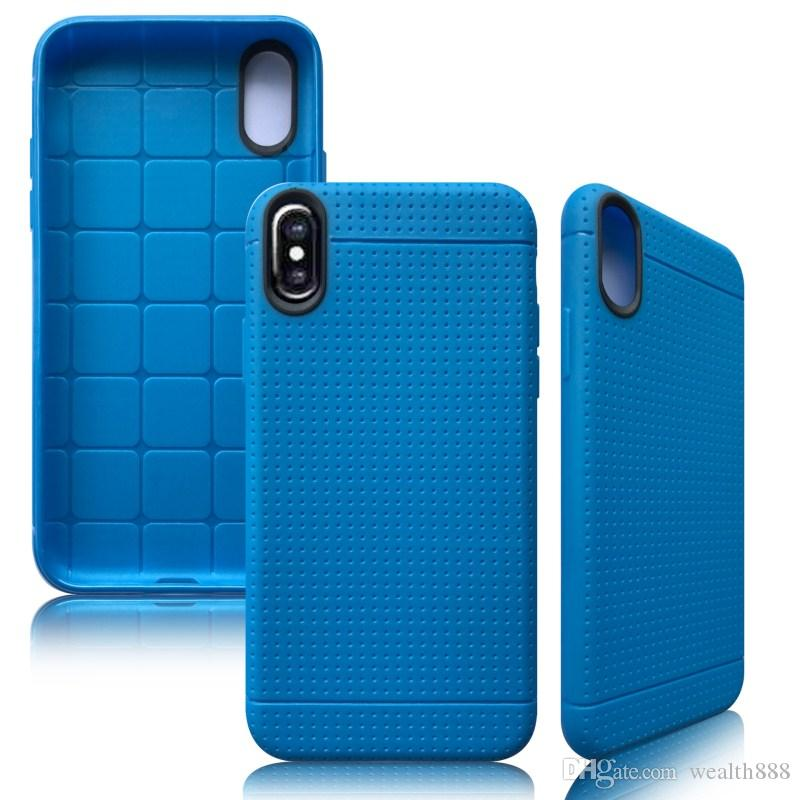 Honeycomb Dot Soft TPU Case for iPhone X 8 Plus High Quality Slim Mesh Net Rubber Skin Back Shockproof Cover