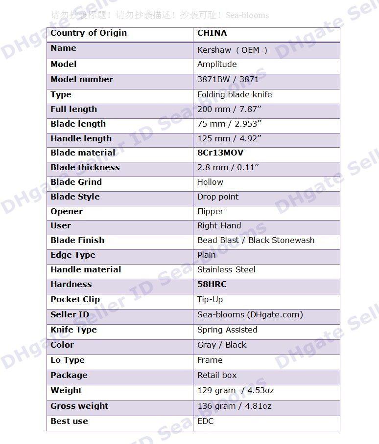 Cinza Preto Kershaw 3871 Amplitude 3.25 Faca de Abertura Assistida 3.1