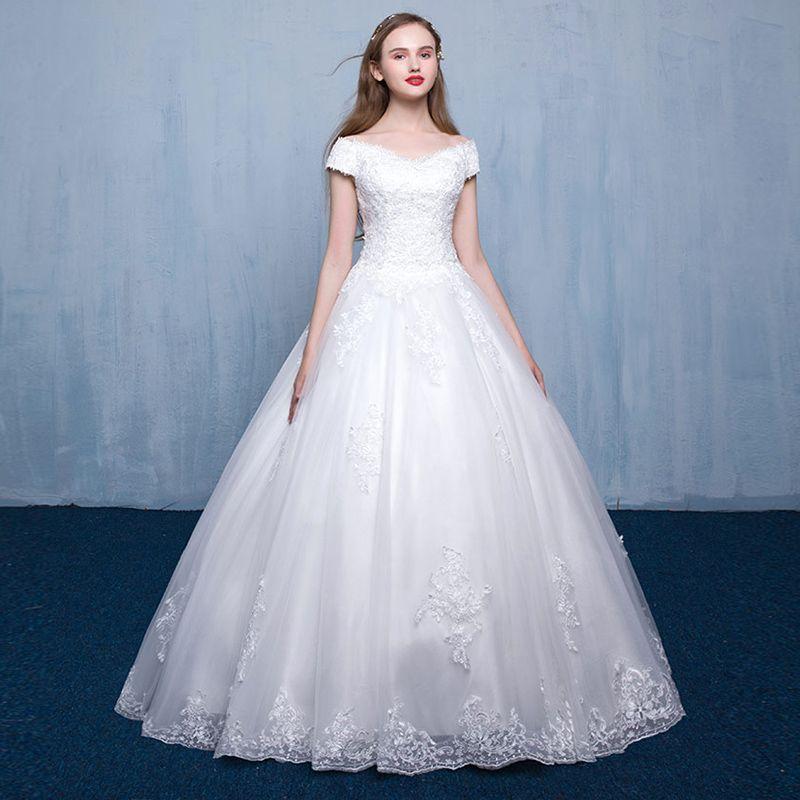 Off White Chiffon A-Line Wedding Dresses