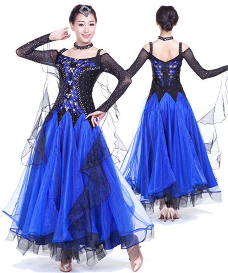 Neue Frauen Ballroom Dance Kleid Moderne Walzer Standard Wettbewerb Praxis Strass Bestickt Dance Kleid 5 Farbe S-3XL A008