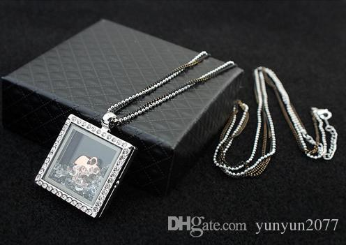 Hot Fashion Costume Accessories Jewelry Austrian Crystal Geometric Square Heart Pendant Magic Box Open Real Gold Sweater Necklaces For Women