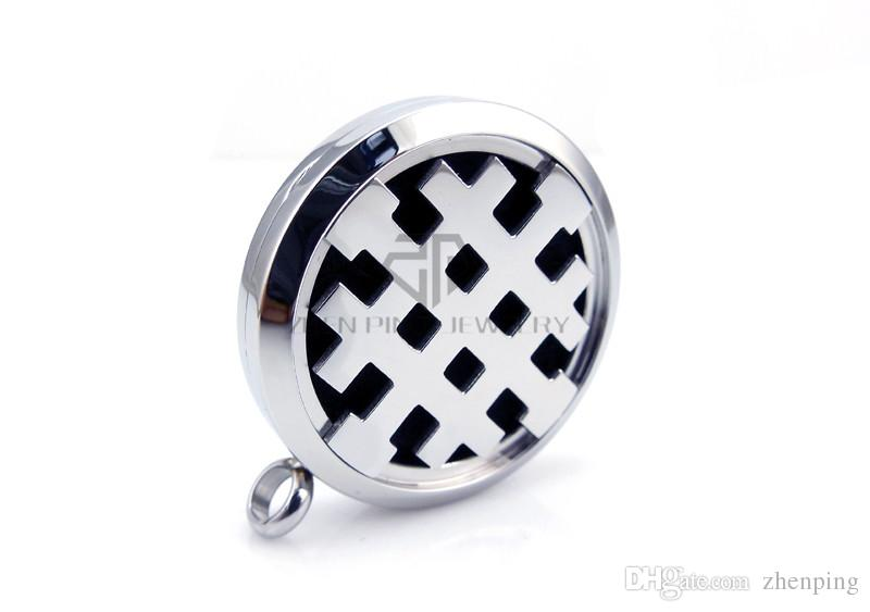 With Chain Round Silver ''Crusaders'' Cross 30mm Essential Oils Stainless Steel Perfume Diffuser Locket Aromatherapy Locket Necklace