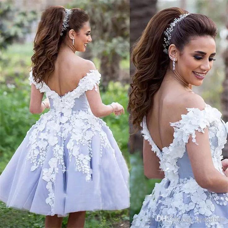 Lilla Charme breve abiti da ballo 2018 al largo della spalla con fiori floreali 3D Ginocchio Lunghezza abiti da ballo le ragazze Homecoming Party Wear