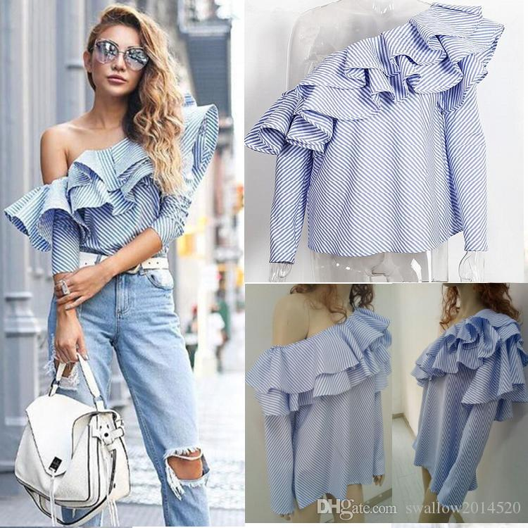 bd98532d0f1228 2019 One Shoulder Ruffle Blouses And Shirts Women 2017 Elegant Blue Striped  Off Shoulder Tops Female Shirt Long Sleeve Ruffle Top From Swallow2014520