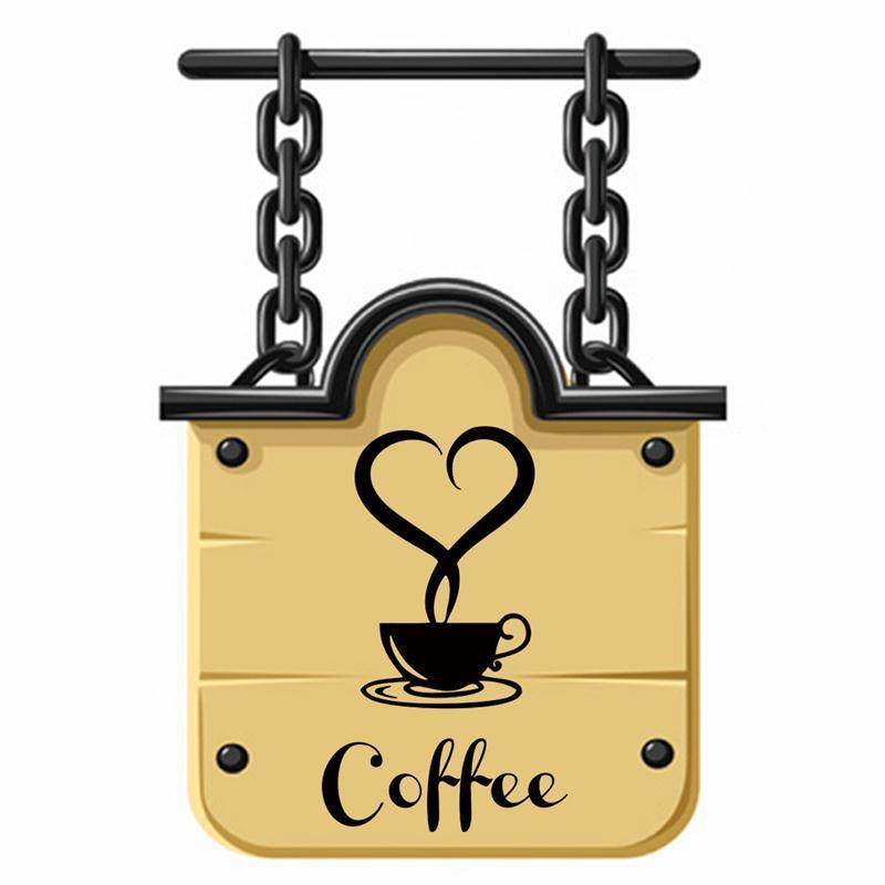 Wholesale Creative Coffee Cup Heart Letters Decal Wall Sticker ...