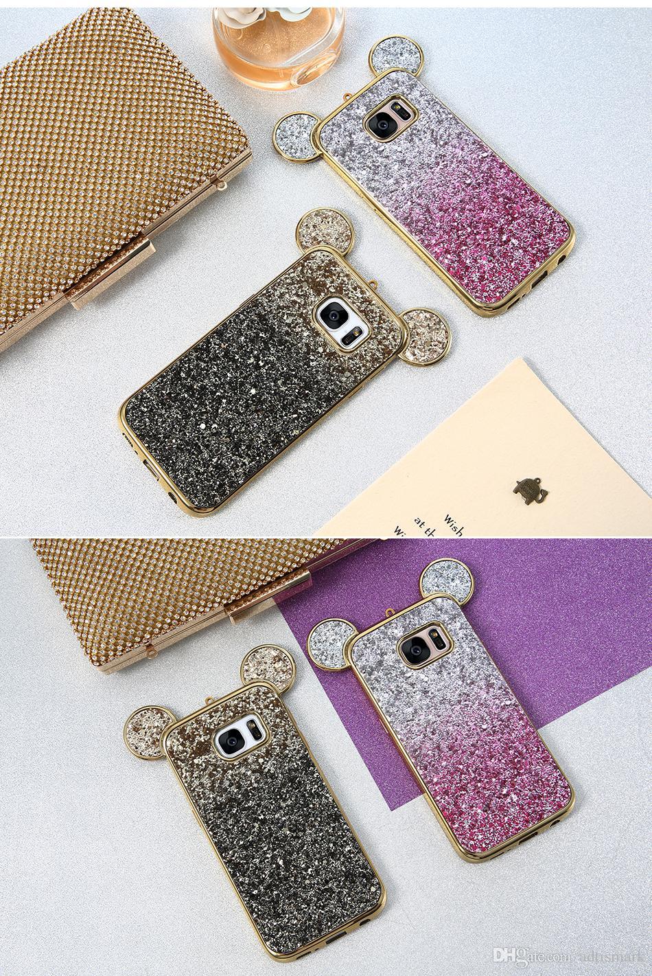 3D Ear bling caja del teléfono para Samsung Galaxy S6 S7 Edge cubierta colorida gradiente brillo cubierta para Samsung Galaxy S8 más caso lindo
