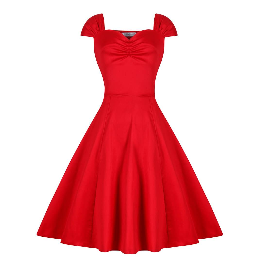 Women's 1950s Hepburn Style Slash Neck Vintage Retro Cocktail Solid Gown Tea Swing Casual Rockabilly Party Evening Dress