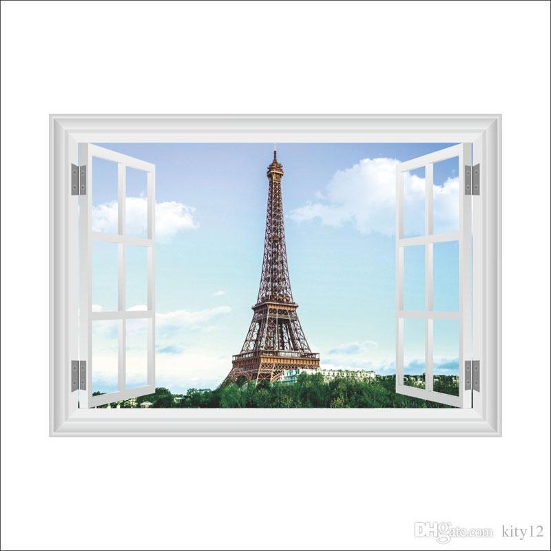 프랑스 DIY 벽지 장식 스티커 예술 장식 벽화 룸 칼의 도매 낭만적 인 파리의 에펠 탑 Eiffel Tower 아름다운보기