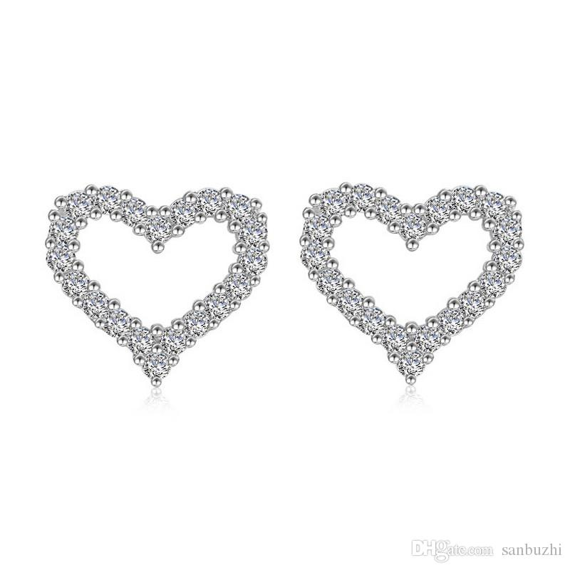 cut heart princess diamond earrings white in stud shaped pave studs petite gold