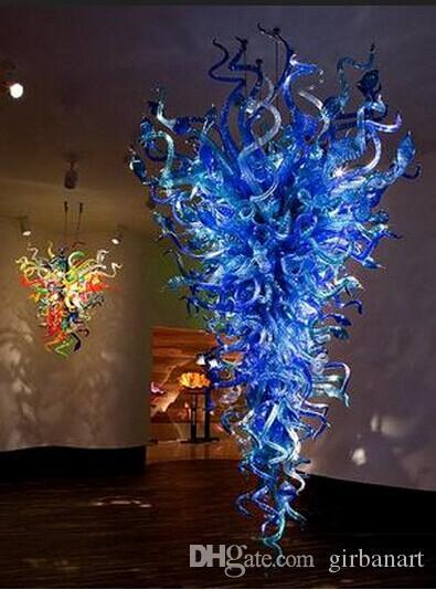 Vente chaude Bleu Lustre En Verre pour La Maison Hôtel Décoration LED Lumière Source Main Soufflé En Verre De Style Américain Lustre