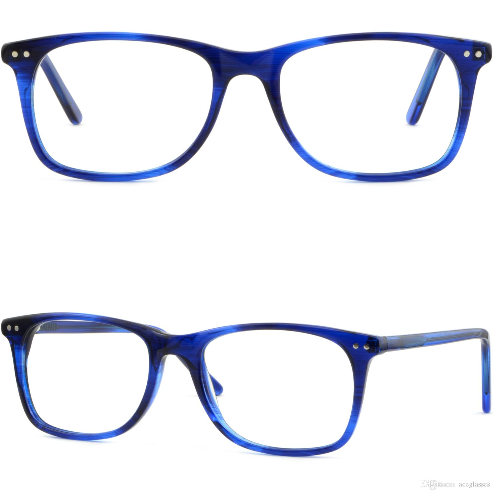 6a21fb3edb Men Women Plastic Frame Spring Hinge Prescription Glasses Shiny Pieces Navy  Blue Oga Eyeglass Frames Order Eyeglass Frames Online From Aceglasses