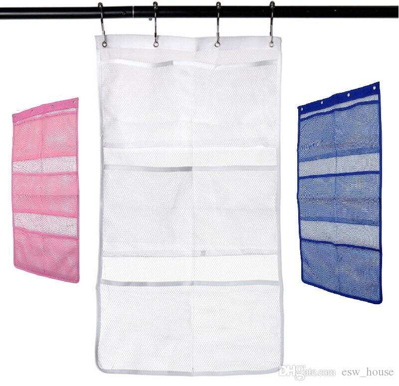 2019 Quick Dry Hanging Caddy Bath Shower Organizer With 6 Pocket Hang On Curtain Rod Liner Hooks Mesh Bathroom Accessories From Esw House