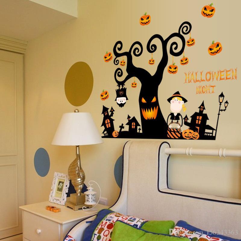 Halloween Wall Stickers Bedroom Living Room Pumpkin Lamp Photo ...