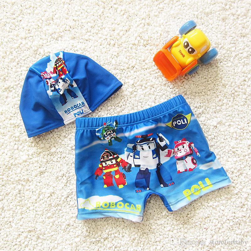 2017 superman erkek bebek yüzme giyim setleri şapka + şort 2 Adet mayo bebek erkek plaj güneş giyim setleri banyo giymek çocuk