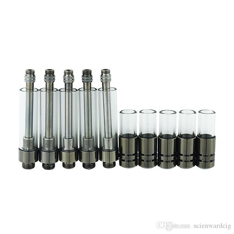 유리 마우스 피스 총을 가진 세라믹 코일 기화기 펜 카트리지 검정 510 카트리지 두꺼운 기름 왁스 분무기 이산화탄소 기름 빈 vap 펜 카트리지